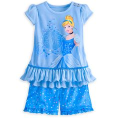Disney Cinderella Short Sleep Set for Girls   Disney StoreCinderella Short Sleep Set for Girls - Your little princess will dash away into a kingdom of dreams wearing this two-piece Cinderella pajama set with blousy ruffled top, coordinating short pants, and sparkling gem accents.