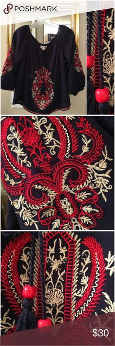 Embroidered Peasant Style Blouse Beautifully embroidered with taupe and red  in an intricate design on front, sleeves and bottom border, front design is sewn with blue beads, tassel ties at neck, navy blue, 100% rayon, NWOT (ZR1 Luna Moon Tops Blouses