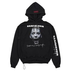 Vetements Rammstein Hoodie (€975) ❤ liked on Polyvore featuring men's fashion, men's clothing, men's hoodies, black, mens sweatshirts and hoodies, mens patterned hoodies, mens hoodies and mens cotton hoodies