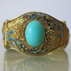"""Vtg Chinese Sterling Silver Filigree Turquoise Enamel Flower 1.5"""" Wide Bracelet"""