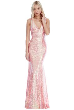 Sequined Low V Neck Maxi Dress - Peach - Front - DR254