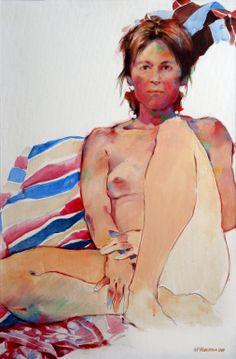 "Saatchi Art Artist: Nicholas Robertson; Acrylic Painting ""Discerning Nude"""