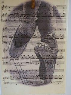 Vintage Music Sheet PrintBallet SlippersBuy Any 3 by MaeMaes, - Ballet - Sheet Music Art, Vintage Sheet Music, Ballet Art, Ballet Dancers, Ballerinas, Collages D'images, Collage Art, Ballerina Kunst, Etiquette Vintage