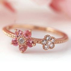 Bizoux's raspberyl/diamond flower ring