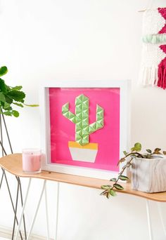 DIY origami cactus wall art - Make and Tell for Curbly