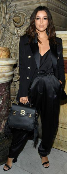 Who made Eva Longoria's black satin top, blazer, suede handbag, and pants? Jennifer Hudson, Jennifer Connelly, Kate Hudson, Kate Winslet, Kate Beckinsale, Satin Top, Black Satin, Eva Longoria Style, Marisa Miller