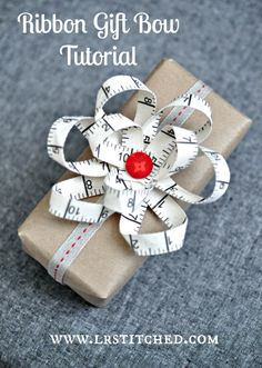 Finish your gift with the perfect ribbon bow -- here's how, from LRStitched.