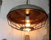 Industrial lighting Pendant Lamp Extra Large Vintage Farmhouse caged light hanging swag