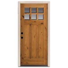 Craftsman 6 Lite Pre Finished Knotty Alder Wood Entry Door-Q6TURMPN15B6RH at The Home Depot