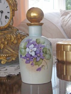 "Antique Limoges Hand Painted Perfume / Scent Bottle - Violets / Marked ""White Art Studio .. Guaranteed Hand Painted .. Chicago, Ill"", in red. Plus a maker's mark in green (difficult to discern)/ 69"