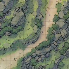 Rocky Highlands A low fog rolls down the hillside as the party marches down the unkempt road, squinting against the rising sun. Birds peep and scatter at their passing. Fantasy Map Maker, Top Down Game, Highlands, Forest Map, Pathfinder Maps, Rpg Map, Dungeon Maps, Fantasy Setting, Le Far West