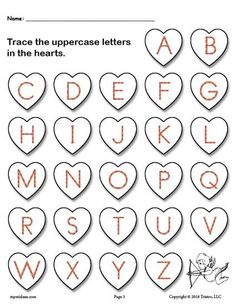 FREE Printable Valentine's Day Uppercase Alphabet Letter Tracing Worksheet! Tracing worksheets like this are great for preschoolers and kindergartners to practice tracing and handwriting skills. Get the free alphabet tracing worksheets here --> https://www.mpmschoolsupplies.com/ideas/7910/free-printable-valentines-day-uppercase-and-lowercase-alphabet-letter-tracing-worksheets/