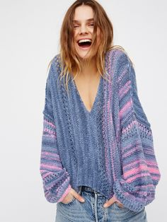 Amethyst Sweater | Soft and cozy sweater featuring a beautiful multi-colored design. V-neckline with an easy shape and dolman style sleeves.