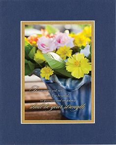 GoodOldSaying - Poem for Inspirations - In returning and rest shall ye be saved; (Isaiah 30:15) . . . on 8x10 Biblical Verse set in Double Mat (Blue On Gold) - A Priceless Poetry Keepsake Collection