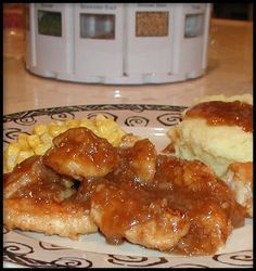 "City Chicken (But It s Not Chicken!) from Food.com: Ultimate winter, ""feel good"" food! This is a favorite at our house and the gravy just has to be served over some homemade, garlic mashed potatoes. Add some Chunky Cinnamon Applesauce and you have a wonderful meal! This recipe came from a '98 Taste of Home Magazine. This can be a bit on the salty side - exchanging the garlic salt for garlic powder and then using reduced sodium chicken broth would help."