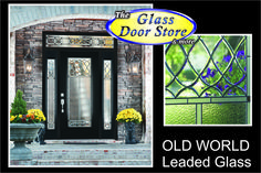 Old world glass door design with matching side windows. beveled glass in the top of the door is beautiful.