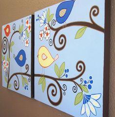Blue and Orange Birds, Custom Nursery Art - Set of Two 20x20 Canvas Paintings