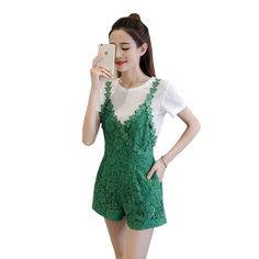2017 Elegant Sling Green Jumpsuits Casual Romper for Women Summer Playsuits Fashion Sexy Lace Shorts Overall Size S-XL