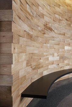 Natural Wood Interiors :: Reclaimed / Salvaged Wood Feature Wall, Wood Blocks, Floating Bench.  Meyer Wells, F5 Networks Lobby in Seattle, WA