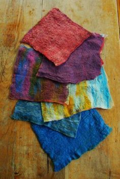 Making your own prefelts is so easy- and opens up so many opportunities for playing with colors, fibers and textures. Try using two or three different colors in layers; using wool for one layer and then another fiber like alpaca or angora for the next; or
