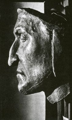 Dante's death mask ...He struggled with the church,and certain popes were a bane to him..not ironic I think that the first person he happens upon in hell is the same pope.~Paula