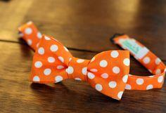 Boys Orange / White Dot Cotton Bow Tie pre-tied and by becauseimme