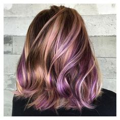 40 Versatile Ideas of Purple Highlights for Blonde, Brown and Red Hair ❤ liked on Polyvore featuring beauty products and haircare