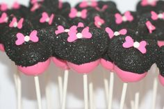 Love these for a birthday party. Pink Minnie Mouse cake pops by bitesizedelights on Etsy