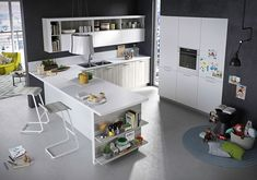 Versatile kitchen island of Fun with opens shelving