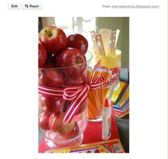 Back to  School centerpiece for the 1st day of school dinner -- LOVE IT!!