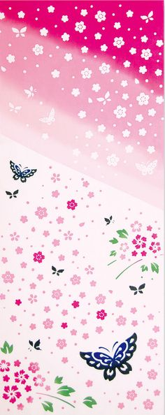 Japanese Tenugui Towel Cotton Fabric, Flitting Sakura, Cherry Blossom, Floral Design, Butterfly, Hand Dyed Fabric, Art Wall Fabric, k107