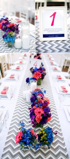 Bright pink, purple and blue table decor for modern Lake Tahoe wedding, photo by Mauricio Arias of Chrisman Studios | junebugweddings.com
