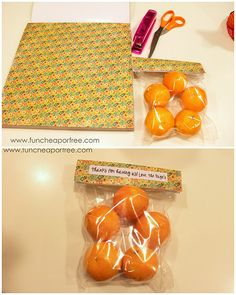 """Fill a ziplock with a treat, staple some cute scrapbook paper on top, and you have yourself a quick and easy holiday or """"thank you"""" treat, or fill with small candies for a great party favor."""