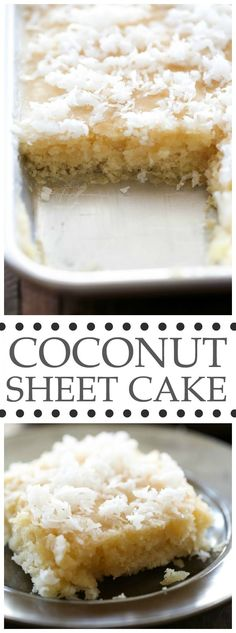Coconut Sheet Cake - this cake literally MELTS IN YOUR MOUTH! It is beyond delicious and super simple to make! One of my favorite cake recipes to date! : chef-in-training Beaux Desserts, 13 Desserts, Dessert Recipes, Frosting Recipes, Coconut Recipes, Baking Recipes, Coconut Desserts, Food Cakes, Cupcake Cakes