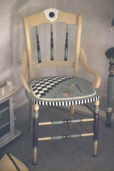 Hand Painted Furniture by Kate Gillery at Briar Cottage Studio http://briarcottagestudio.blogspot.com/ Hand painted fabric and chair