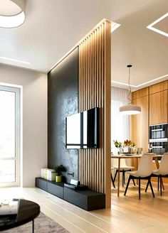 Stylish Homes With Modern Interior DesignYou can find Home interior design and more on our website.Stylish Homes With Modern Interior Design Living Room Partition, Room Partition Designs, Living Room Tv, Interior Design Living Room, Home And Living, Bathroom Interior, Design Bedroom, Wood Partition, Small Living