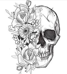 Cool Skull Tattoos For Women – My hair and beauty Floral Skull Tattoos, Small Skull Tattoo, Skull Tattoo Flowers, Sugar Skull Tattoos, Skull Tattoo Design, Flower Tattoo Designs, Body Art Tattoos, Sleeve Tattoos, Flower Tattoos