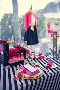 a bridal shower inspired by the woman's favorite outfit!!! yes my polka dotted sweater and fuschia heels!