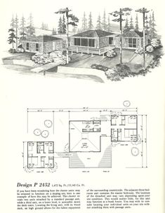 Vintage Home Plans Cluster Units 2452 Contemporary House Plans, Modern House Plans, House Floor Plans, Cluster House, Mcm House, Vintage House Plans, Architecture Plan, Architecture Student, Mid Century House