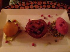 Saffron zoulbia, sekel pear, pomegranate sorbet and pistachios