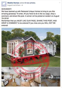 Mobile Home Giveaway Facebook Scam