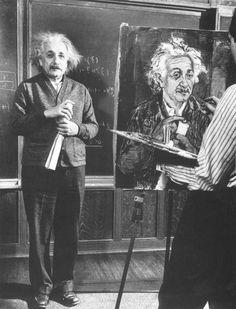 """Albert Einstein posing for a portrait. """""""