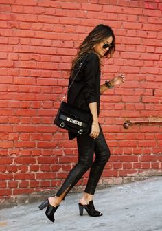 Madewell shirt, J Brand leather pants, 3.1 Phillip Lim shoes, Proenza Schouler bag