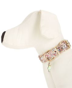 "Give your favorite furry friend uptown sparkle with this glitter dog collar from Betsey Johnson xox Trolls. | Leather/metal/plastic | Imported | Fits lengths 9.5""-11.5""; total dimensions 14""L x 3/5W"""