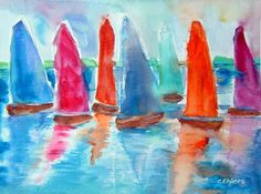 Sailboats Sailboat Art, Sailboats, Art For Kids, Crafts For Kids, Seascape Art, Spring Art, The World's Greatest, Art School, Art For Sale