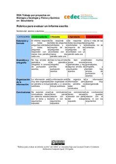 REA Trabajo por proyectos en Biología y Geología y Física y Química en Secundaria Rúbrica para evaluar un informe escrito...