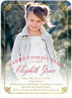 Dazzling Wonder - #Communion Invitations - Hello Little One in Medium Pink. #invitations