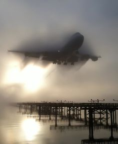 Boeing 747 arriving in heavy fog.