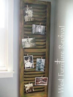 West Furniture Revival: SHUTTER REPURPOSED - DRY BRUSHED AND DISTRESSED by DIY-CTMomx4  Idea for hanging stuff at ranch?