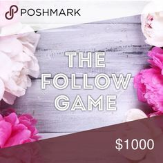 NEW follower game! Play along and increase your sales! 1. Follow me 2. Like the listing 3. Follow all closets that have liked the listing 4. Share listing with your followers! Other